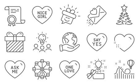 Set of Holidays icons, such as Ask me, Ferris wheel. Diploma, ideas, save planet. Christmas tree, Surprise, Love letter. Heart, One love, Creative idea. Smile, Nice girl, Roller coaster. Vector Ilustracja