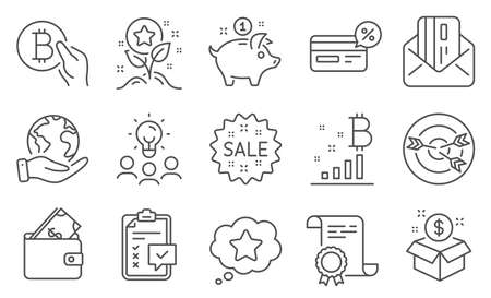Set of Finance icons, such as Checklist, Saving money. Diploma, ideas, save planet. Wallet, Targeting, Loyalty points. Cashback, Sale, Post package. Credit card, Bitcoin graph, Loyalty star. Vector Illustration
