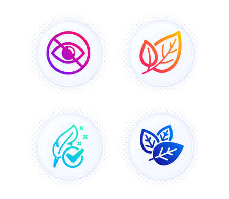 Hypoallergenic tested, Not looking and Leaf icons simple set. Button with halftone dots. Organic tested sign. Feather, Eye care, Ecology. Bio ingredients. Healthcare set. Vector