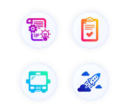Bus, Checklist and Cogwheel icons simple set. Button with halftone dots. Startup rocket sign. Tourism transport, Survey, Idea bulb. Business innovation. Technology set. Gradient flat bus icon. Vector
