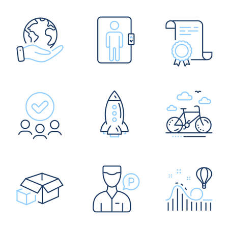Rocket, Roller coaster and Valet servant line icons set. Diploma certificate, save planet, group of people. Bike rental, Packing boxes and Elevator signs. Vector