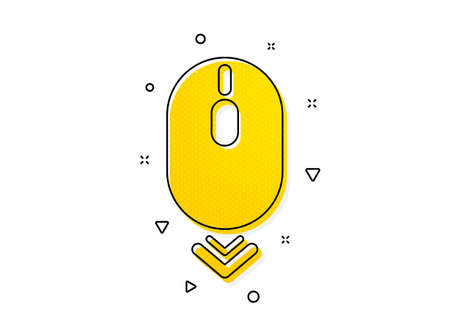 Scrolling screen sign. Scroll down mouse icon. Swipe page. Yellow circles pattern. Classic scroll down icon. Geometric elements. Vector
