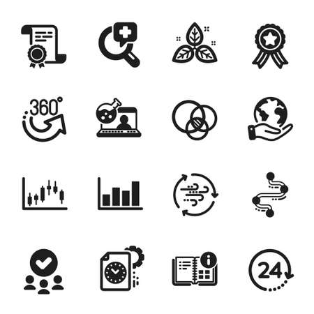 Set of Science icons, such as Instruction info, 24 hours. Certificate, approved group, save planet. Wind energy, Timeline, Euler diagram. Fair trade, Online chemistry, 360 degrees. Vector Ilustrace