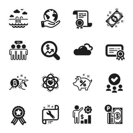 Set of Business icons, such as Atom, Currency audit. Certificate, approved group, save planet. Payment, Swimming pool, Parking payment. Employees wealth, Cloudy weather, Bitcoin mining. Vector
