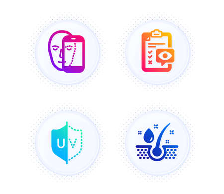 Eye checklist, Face biometrics and Uv protection icons simple set. Button with halftone dots. Serum oil sign. Optometry, Facial recognition, Ultraviolet. Healthy hairs. Medical set. Vector