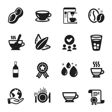 Set of Food and drink icons, such as Sunflower seed, Water drop. Certificate, approved group, save planet. Tea cup, Bombon coffee, Food. Ice tea, Coffee maker, Espresso. Vector