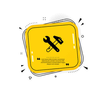 Spanner and hammer icon. Quote speech bubble. Repair service sign. Fix instruments symbol. Quotation marks. Classic spanner tool icon. Vector Çizim