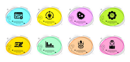 Gluten free, Copyright laptop and Idea signs. Timeline infographic. Bacteria, Web settings and Time management line icons set. Histogram, Hospital nurse symbols. Vector Vettoriali