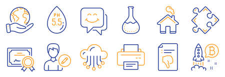 Set of Technology icons, such as Smile face, Chemistry lab. Certificate, save planet. Home, Ph neutral, Edit person. Strategy, Printer, Bitcoin project. Thumb down, Cloud storage line icons. Vector