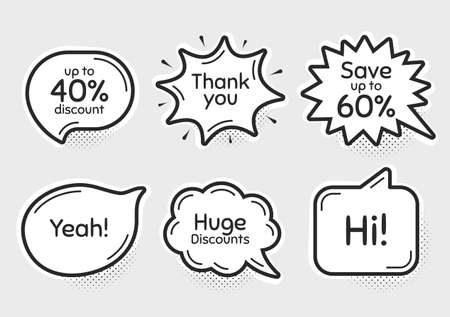 Comic chat bubbles. Save up to 60%, 40% huge discount. Thank you, hi and yeah phrases. Sale shopping text. Chat messages with phrases. Drawing texting thought speech bubbles. Vector