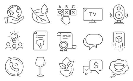 Set of Business icons, such as Thumb down, Organic product. Diploma, ideas, save planet. Bordeaux glass, Coffee cup, Leaf dew. Payment received, Correct checkbox, Call center. Vector