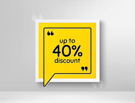 Up to 40% Discount. Frame with thought bubble. Sale offer price sign. Special offer symbol. Save 40 percentages. Realistic frame and speech bubble. Banner with chat symbol and quotes. Vector Иллюстрация