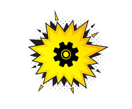 Cogwheel icon. Quote speech bubble. Service sign. Transmission Rotation Mechanism symbol. Quotation marks. Classic service icon. Vector