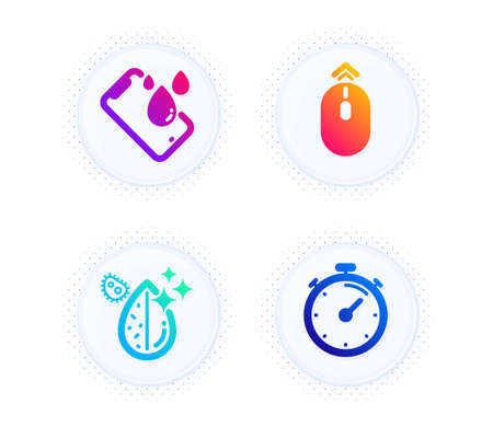 Dirty water, Swipe up and Smartphone waterproof icons simple set. Button with halftone dots. Timer sign. Aqua drop, Scrolling page, Phone. Deadline management. Technology set. Vector