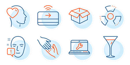 Laptop repair, Face attention and Friend signs. Helping hand, Opened box and Contactless payment line icons set. Martini glass, Chemical hazard symbols. Give gesture, Shipping parcel. Vector Çizim