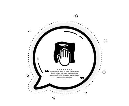 Cleaning cloth icon. Quote speech bubble. Wipe with a rag symbol. Housekeeping equipment sign. Quotation marks. Classic washing cloth icon. Vector Ilustración de vector
