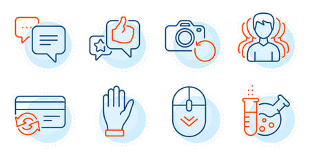 Like, Scroll down and Recovery photo signs. Change card, Chemistry lab and Dots message line icons set. Group, Hand symbols. Payment method, Laboratory. Business set. Outline icons set. Vector