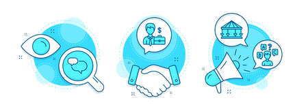 Chat message, Carousels and Quiz test line icons set. Handshake deal, research and promotion complex icons. Businessman case sign. Speech bubble, Attraction park, Interview. Human resources. Vector