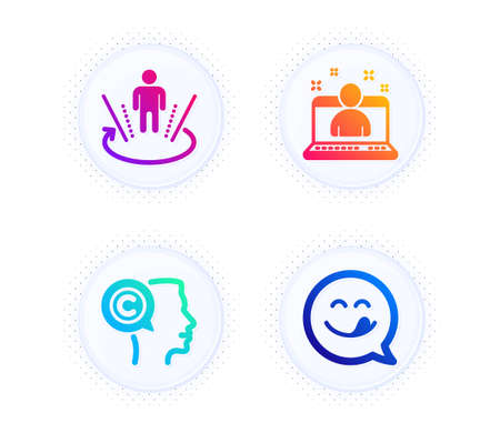 Writer, Best manager and Augmented reality icons simple set. Button with halftone dots. Yummy smile sign. Copyrighter, Best developer, Virtual reality. Emoticon. People set. Vector Illusztráció