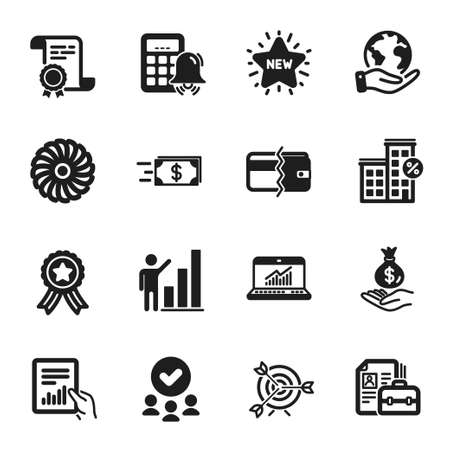 Set of Finance icons, such as Loan house, Payment methods. Certificate, approved group, save planet. Calculator alarm, Fan engine, Income money. Online statistics, Document, New star. Vector