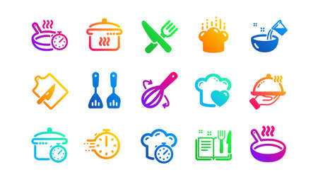 Boiling time, Frying pan and Kitchen utensils. Cooking icons. Fork, spoon and knife icons. Recipe book, chef hat and cutting board. Classic set. Gradient patterns. Quality signs set. Vector Ilustração