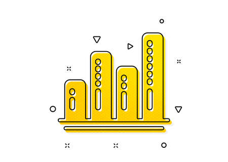 Column chart sign. Graph icon. Growth diagram symbol. Yellow circles pattern. Classic graph chart icon. Geometric elements. Vector Vektoros illusztráció