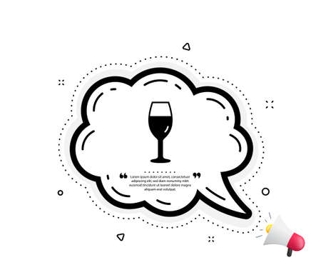 Wine glass icon. Quote speech bubble. Burgundy glass sign. Quotation marks. Classic wineglass icon. Vector
