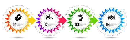 Latte coffee, Pistachio nut and Food icons simple set. Timeline steps infographic. Frying pan sign. Hot drink with whipped cream, Vegetarian food, Restaurant. Cooking timer. Food and drink set. Vector