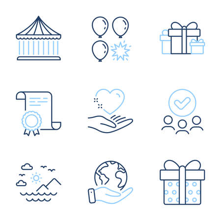 Hold heart, Holiday presents and Carousels line icons set. Diploma certificate, save planet, group of people. Gift box, Sea mountains and Balloon dart signs. Vector Stock Vector - 142409016