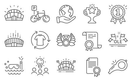 Set of Sports icons, such as Victory, Whistle. Diploma, ideas, save planet. Sports arena, Certificate, Arena stadium. Scuba diving, Reward, Ole chant. Vector Illustration