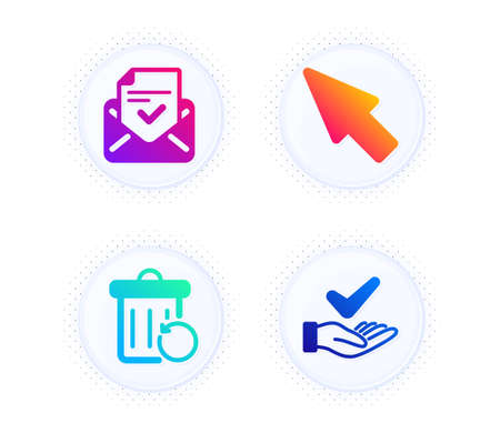 Mouse cursor, Approved mail and Recovery trash icons simple set. Button with halftone dots. Dermatologically tested sign. Click arrow, Confirmed document, Backup file. Organic. Technology set. Vector