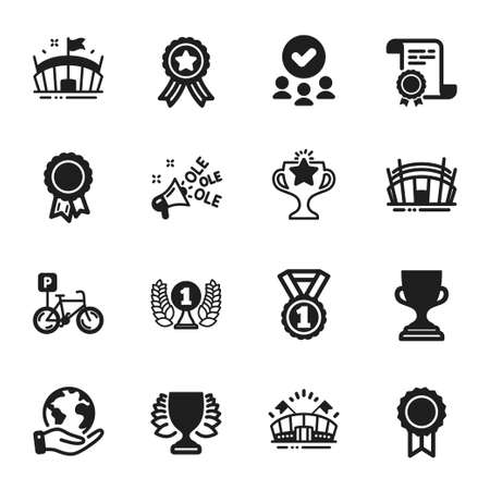 Set of Sports icons, such as Laureate award, Arena stadium. Certificate, approved group, save planet. Best rank, Bicycle parking, Award cup. Winner, Ole chant, Sports arena. Vector