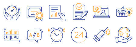Set of Science icons, such as Education idea, Medical help. Certificate, save planet. Document, Timer, Medical syringe. Alarm clock, Diagram chart, Rfp. 24 hours, Ab testing line icons. Vector