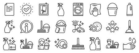 Laundry, Window sponge and Vacuum cleaner icons. Cleaning line icons. Washing machine, Housekeeping service and Maid cleaner equipment. Window cleaning, Wipe off, laundry washing machine. Vector Ilustración de vector
