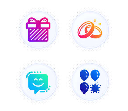 Wedding rings, Smile face and Surprise icons simple set. Button with halftone dots. Balloon dart sign. Love, Chat, Present with bow. Attraction park. Holidays set. Vector Stock Vector - 142409567