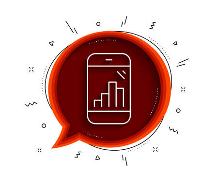 Graph phone line icon. Chat bubble with shadow. Column chart sign. Growth diagram symbol. Thin line graph phone icon. Vector