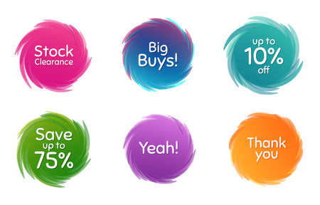 Swirl motion circles. Save 75%, 10% discount and stock clearance. Thank you phrase. Sale shopping text. Twisting bubbles with phrases. Spiral texting boxes. Big buys slogan. Vector 免版税图像 - 142409662