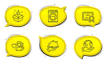 Restaurant food sign. Diploma certificate, save planet chat bubbles. Creative idea, Man love and Washing machine line icons set. Lightning, Romantic people, Laundry service. Room service. Vector