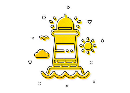 Beacon tower sign. Lighthouse icon. Searchlight building symbol. Yellow circles pattern. Classic lighthouse icon. Geometric elements. Vector Illusztráció