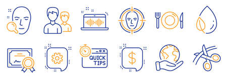 Set of Business icons, such as Leaf dew, Scissors. Certificate, save planet. Quick tips, Payment message, Face detect. Cogwheel, Music making, Food. Face search, Couple line icons. Vector