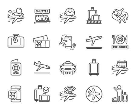 Airport line icons. Boarding pass, Baggage claim, Arrival and Departure. Connecting flight, tickets, pre-order food icons. Passport control, airport baggage carousel, inflight wifi. Vector Vektorové ilustrace