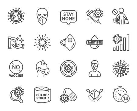 Coronavirus line icons. Medical protective mask, hands sanitizer, no vaccine. Stay home, washing hands hygiene, coronavirus epidemic mask icons. Covid-19 virus pandemic, toilet paper panic. Vector Vettoriali