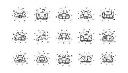 Ole chant, arena football, championship architecture. Sports stadium line icons. Arena stadium, sports competition, event flag icons. Sport complex linear set. Geometric elements. Vector Illustration
