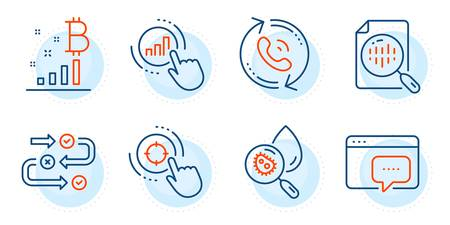 Seo target, Bitcoin graph and Water analysis signs. Analytics chart, Survey progress and Seo message line icons set. Graph chart, Call center symbols. Report analysis, Algorithm. Vector
