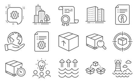 Set of Industrial icons, such as Skyscraper buildings, Technical info. Diploma, ideas, save planet. Package, Parcel shipping, Evaporation. Technical documentation, Cogwheel, Search package. Vector Vektorové ilustrace