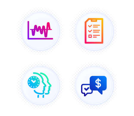 Time management, Stock analysis and Interview icons simple set. Button with halftone dots. Payment received sign. Teamwork clock, Business trade, Checklist file. Money. Education set. Vector