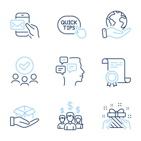Hold box, Quick tips and Salary employees line icons set. Diploma certificate, save planet, group of people. Messages, Messenger mail and Gift signs. Vector