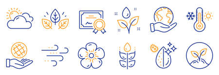 Set of Nature icons, such as Thermometer, Sunny weather. Certificate, save planet. Gluten free, Organic tested, Plants watering. Dirty water, Windy weather, Startup. Vector