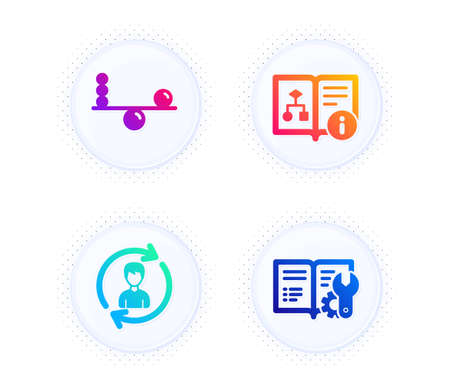 Human resources, Technical algorithm and Balance icons simple set. Button with halftone dots. Engineering documentation sign. Update profile, Project doc, Concentration. Manual. Business set. Vector