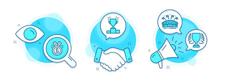 Sports arena, Approved and Winner podium line icons set. Handshake deal, research and promotion complex icons. Winner sign. Event stadium, Competition results, Sports achievement. Sports set. Vector